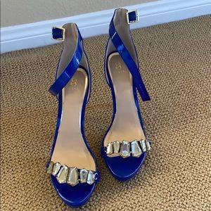 Shoe Dazzle Blue Jeweled Heels